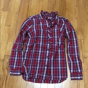 Gap plaid ruffle button down
